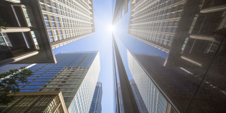 office buildings with sunlight