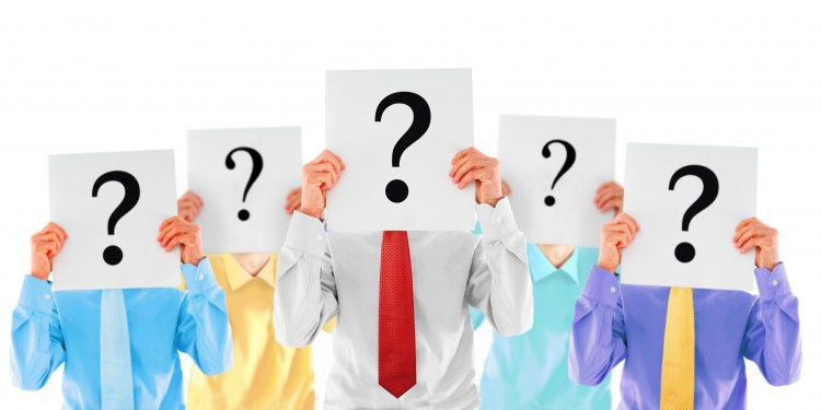 Anonymous people holding question mark