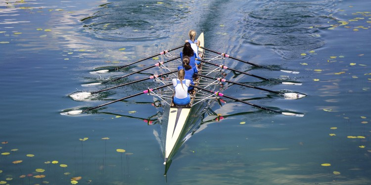 Zagreb, Croatia - June 04, 2016: Four unidentified women rowing on the Lake Jarun